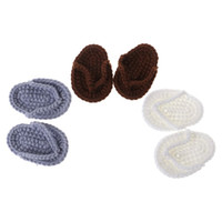 вязаные туфли для младенцев оптовых-1Pair Knitted Slipper Mini Knitted Crochet Shoes Newborn Baby Photography Costume Cute Funny Cosplay Photo Shot Supplies New