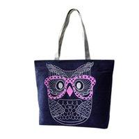 Wholesale owl dress blue for sale - 2017 Hot Sale Women Handbag Fashion Female Owl Ladies Large Clutch Bag Woman Canvas Casual Handbags Shoulder Tote Purse Bolsos