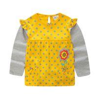 ingrosso camicie in cotone giallo a manica lunga-T-shirt a righe per ragazza T-shirt a manica lunga con scollo tondo Cartone animato a pois giallo Punto grigio cotone 1