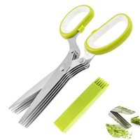 Wholesale Eco Friendly Multipurpose Stainless Steel Herb Scissors With Blades Kitchen Vegetable Scissors Chopper With Cleaning Brush