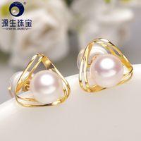 Wholesale akoya pearl studs resale online - Ys k Solid Gold mm Real Natural Japanese Akoya Pearl Stud Earrings Fine Jewelry Y19052301