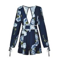 hohes halshalfter-kleid großhandel-Sommerkleid 2019 Damen New Fashion Sexy V-Ausschnitt Halfter Print Langarm High-Taille Shorts Lose Version des wilden Casual