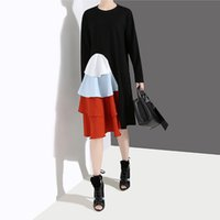 koreanische kleider rüschen großhandel-Neue 2019 Korean Style Frauen Langarm Frühling Kleid Schwarz Cascading Rüschen Weibliche Beiläufige Patchwork Party Kleid Robe Femme F269