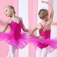 pamuk tek parça elbiseler toptan satış-Qi.Enchantee Bale Mayoları Pamuklu Elbise Kızlar için Dansçı Kısa Kolsuz Tek parça Elbise