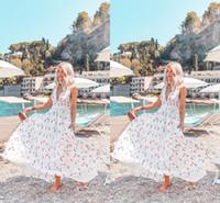 balo elbiseleri kolları baskı toptan satış-Yaz Plaj Baskılı Bir Çizgi Şifon Uzun Parti Elbise Derin V Boyun Kollu Ucuz Moda Kadınlar Casual Elbise Kat Uzunluk Uzun Balo Elbise