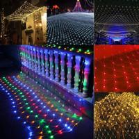 cadena de navidad al por mayor-Nueva moda al aire libre LED Net Net Light String Wedding Party Decor Fairy Mesh Moda LED Net String Light