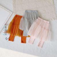 Wholesale girls mesh leggings resale online - INS girl clothing pants solid color leggings pants With mesh design girl spring fall pants