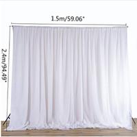 weiße seidenvorhänge großhandel-White Sheer Silk Tuch Vorhänge Panels Hängende Vorhänge Foto Hintergrund Hochzeit Veranstaltungen DIY Dekoration Textilien 2,4x1,5 Mt