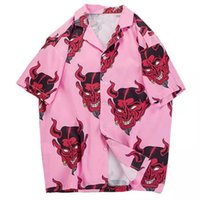 koreanische sommerhemden großhandel-Hawaiian Shirt 2019 Sommer Mode Devil Print Streetwear Lässige Kurzarm Hip Hop Koreanische Shirts Harajuku T-shirts