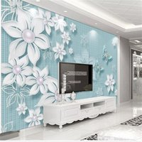 Wholesale paint flower mural for sale - Group buy custom size d photo wallpaper living room bed room mural hand painted D flowers picture sofa TV backdrop wallpaper non woven wall sticker