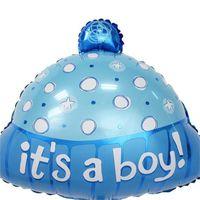 chapéu azul das meninas venda por atacado-Wave Point Hat Balão de Alumínio Filme Festa de Aniversário Decoração Suprimentos É Um Menino Menina Chá de Bebê Azul Rosa 1 05xtC1