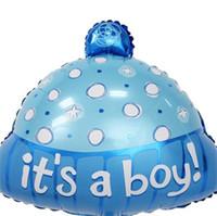 sombrero azul de las niñas al por mayor-Wave Point Sombrero Globo Película De Aluminio Fiesta de Cumpleaños Decoración Suministros Es Un Niño Niña Bebé Ducha Azul Rosa 1 05xtC1