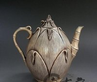 Wholesale bamboo shoots resale online - Special offer Antique Brass Brass Silver plated Creative Bamboo shoots Jug Decoration Kettle Teapot Decoration Gift Antique Collection
