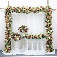 ingrosso ortensia decorazione domestica-Fila di fiori artificiali fai da te fiore di seta ortensia peonia rosa fiore matrimonio arco strada piombo home hotel partito decor fai da te flores