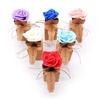 ingrosso sacchetto di imballaggio della carta dei monili-Sacchetto regalo di caramelle di carta vintage con fiore rosa confezione regalo di cioccolato decorazione di nozze bomboniere scatole di imballaggio di caramelle di gioielli
