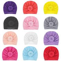 gorras de calavera infantil al por mayor-Baby Kids Beanies Cap Unisex Ball Knot Turbante Sombreros de calavera con capucha Niño pequeño Gorras casuales Sombreros de Navidad 1-3T