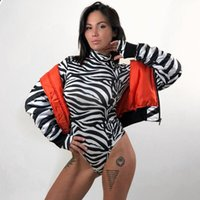 trajes de cuerpo de cebra al por mayor-Mujeres cuello alto de manga larga Body Zebra Print Sexy One Piece Suit Jumpsuit Leotard Body Romper en general
