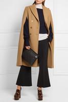 ingrosso ponte manteau-UK 2019 Autunno / Inverno La più recente designer di passerelle Poncho femminile Cammello Mantello Cappotto Donna Mantello Manteau femme abrigos mujer