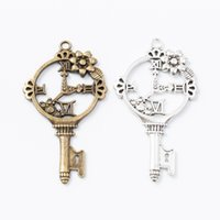 Wholesale key clocks resale online - 20pcs MM Vintage silver flower clock key charms antique bronze metal pendants for bracelet necklace earring diy jewelry