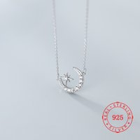Wholesale cz solitaire pendant for sale - Group buy Hot new product women accessories jewelry sterling silver fashion jewelry cz crescent moon star pendant necklace for lady birthday gift