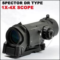 Tactical Spector DR 1X 4X Illuminated Mil-Dot Scope rifle scope Black Dark Earth