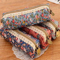 bolsa de maquillaje kawaii al por mayor-Kawaii Flower Floral Lace Pencil Case Zipper Pencil Bag School Supplies Cosmética Maquillaje Bolsa Zipper Pouch Purse Estojo Escolar