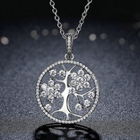 Wholesale New Life Tree Pendant Chain Necklace Set Original Box for Pandora Sterling Silver CZ Diamond Gorgeous Women s Necklace