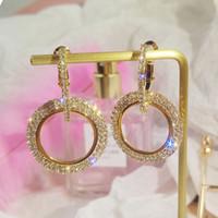 altın kaplama çember küpeleri gül toptan satış-Lüks 18 K Rose Gold Kaplama Gümüş Çift Daire Parlak Uzun Kristal Hoop Küpeler Kadınlar için Rhinestone Dangle Bildirimi Düğün Küpe