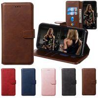 notizfälle zum verkauf großhandel-20 Stück Sale Klassische feste Farben-Mappen-Telefon-Kasten für iPhone 11 Pro X XR XS Max 6 7 8 Plus und Samsung Anmerkung 10 Pro 9 8 S8 S9 S10 Edge-Plus-