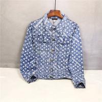 dış mekan marka kot toptan satış-19AW lüks Marka Tasarım Sup işbirliği tam logolar baskı kot ceket Erkekler Kadınlar Streetwear Tişörtü Açık Gömlek