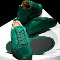 Wholesale green jungle resale online - Designer shoes Studded Spikes Sneakers junior Red Bottom Low top Flat trainers Jungle Green mens Suede leather Party shoes US
