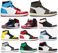 sapatos barão venda por atacado-Alta OG 1s Travis Scotts Gym Red Homage To Home Toe Amarelo Tênis de basquete Homens 1 carmesim Matiz Chameleon Barons tênis com Box