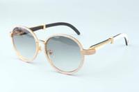 óculos de sol dourados venda por atacado-19 anos new luxury frame redondo diamante óculos de sol T19900692 retro moda chapéu de ouro naturais chifres misturados espelho pés decoração