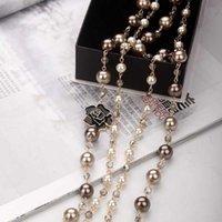 ingrosso gioielli in costume perla per le donne-Collana a catena di perle di alta qualità Catena di maglia a fiore di smalto nero a forma di camelia per accessori di gioielli per ragazza