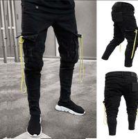 büyük erkekler kargo pantolon toptan satış-Erkek Siyah Kargo Kot Yıpranmış Yıpranmış Biker Jeans Slim Fit Büyük Cep Kalem Denim Pantolon Artı Boyutu S-3XL Adam Pantolon Trendy