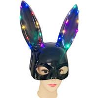 apoyos de bola de mascarada al por mayor-Luces resplandecientes Máscara de oreja de conejo Máscaras de disfraces de Halloween Máscara de fiesta COS Máscara de conejito Club nocturno Bar Bunny Girl Dress Up Props Pretty