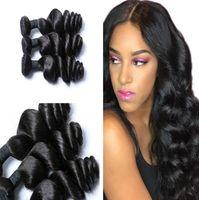 Wholesale coloured human hair resale online - Malaysian Virgin Hair Weaves Bundles Loose Wave Human Hair Bundles Unprocessed Women Hair Extensions Natural colour