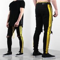 ingrosso marche di jeans cinesi-Mens Designer jeans da uomo Distressed Zipper Skinny Jeans degli uomini di Hip Hop pantaloni da uomo Designer Hole qualiy denim dei pantaloni 3 colori