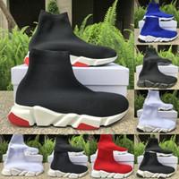 ingrosso tessuto di tessuto di diamanti-High Quality Speed Trainer di lusso degli uomini del progettista delle donne scarpe da ginnastica bianche da ginnastica nero blu della piattaforma scarpe calzino casuale Runner Dimensioni 5-11