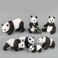 china tierfiguren großhandel-7 teile / satz Verschiedene formen China panda familie Bambus wald Tier modell action-figuren Solide Sammlung Kinder spielzeug Geschenk Für Kinder