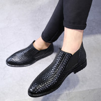 Wholesale Male Boots Personality England High Help Shoe Weave Martin Boots Male