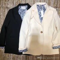 blazers mujer de talla grande al por mayor-Nuevo diseño europeo logotipo de la mujer letra de la impresión dentro del bloque de color de manga larga bufanda remiendo suelta más tamaño blazer traje abrigo S M L