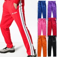 hip hop zip pantolon toptan satış-Palmiye Melekler Parça Pantolon Streetwear Erkekler Yan Şerit Pantolon Pantolon Siyah Mor Ayak Bileği Zip Joggers Sweatpants Hip Hop Pantolon Eşofman Ceket