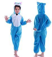 ingrosso costume gatto zentai-Nuovo stile i bambini 2018 cosplay Gatto blu Grande gallo Orso bruno Adatto per ragazzi e ragazze Costume di scena stile corto che balla vestiti