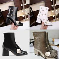 avrupa'da çizmeler toptan satış-Avrupa 2019 sonbahar ve kış kadın ayakkabı yüksek topuklu püskül ayakkabı Lüks Tasarımcı otantik ithal deri bayan ayakkabıları Ayak Bileği Çizmeler