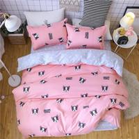 семейный мультфильм мода оптовых-Комплект постельных принадлежностей модный дом роскошная кровать покрывало наволочка волнистые полосы домашний текстиль семья постельное белье высокое качество