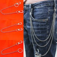 Wholesale metal chain leash for sale - Group buy Fashion Rolo Necklace Stainless Steel Long Metal Wallet Chain Leash Pant Jean Keychain Ring Clip Men s Hip Hop Jewelry