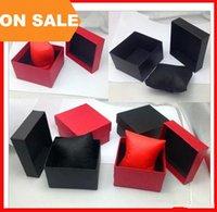 papier bijoux oreiller boîte achat en gros de-Boîtes de montre de mode boîtier de montre carré de papier rouge noir avec oreiller bijoux boîte de rangement boîte K2551