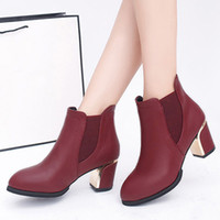 Wholesale shoes for short women resale online - Elastic Band Ankle Boots for Women Fashion Pointed Toe High Heel Short Boots Winter Women Shoes Mother Booties Bottes Femme