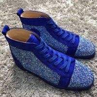 erkek boş ayakkabı fiyatları toptan satış-Fabrika Fiyat Erkek Tasarımcı Rhinestone Sneakers Lüks Rahat Ayakkabılar Kristal Kırmızı Alt Ayakkabı Erkekler Markala ...